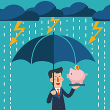 Business Man With Umbrella Standing Under Thunderstorm Protecting Piggy Bank. Saving Money For Any Storm Problem Will Come. Business And Finance Vector Concept