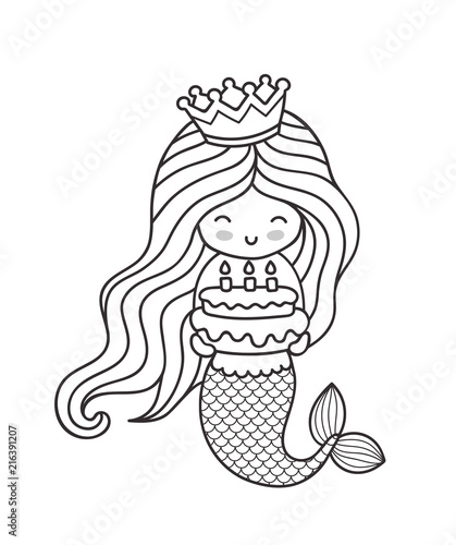 Little Happy Princess Mermaid Holding A Birthday Cake Cute Cartoon Character Outline Illustration