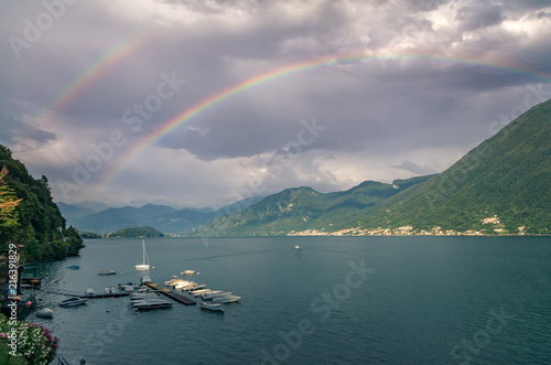 Double rainbow over Lake Como from Argegno Canvas Print