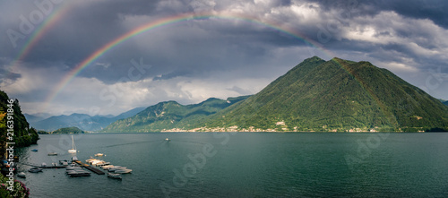 full rainbow over Lake Como from Argegno Canvas Print