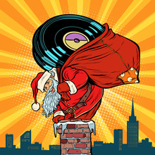Santa Claus With Vinyl Records Climbs Into The Chimney