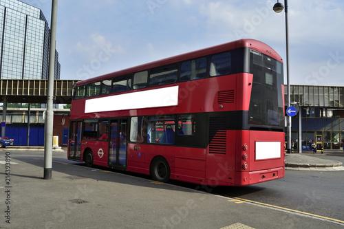Foto op Canvas Londen rode bus Double Decker red bus is running on road in London