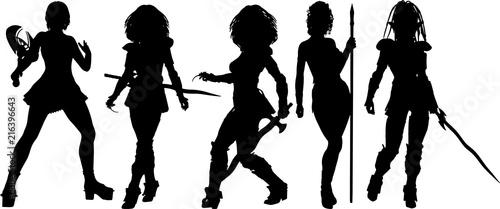 RPG系女性プレイヤーのシルエット - 216396643
