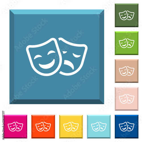 Fotografija  Comedy and tragedy theatrical masks white icons on edged square buttons