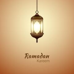 Ramadan Kareem - cute greeting card with islamic lantern for Muslim Community festival. Bright beautiful arabic lamp. Graphic design element for greeting card or invitation. Vector illustration.