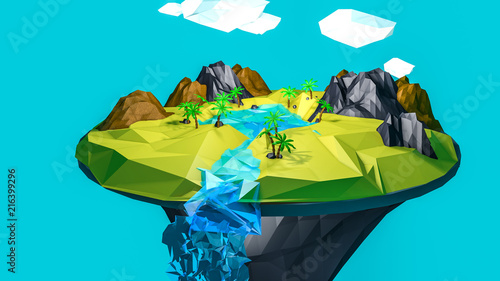 Spoed Foto op Canvas Turkoois low poly desert landscape. an oasis in the air. 3D rendering