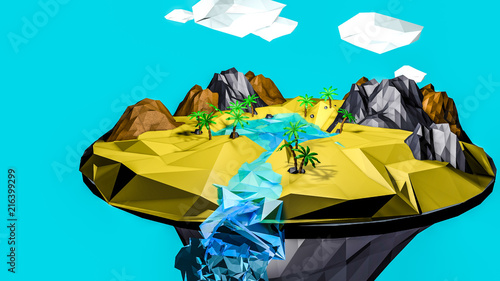 Foto op Plexiglas Turkoois low poly desert landscape. an oasis in the air. 3D rendering
