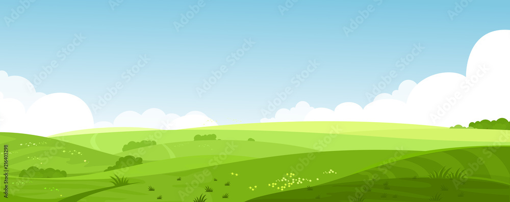 Fototapety, obrazy: Vector illustration of beautiful summer fields landscape with a dawn, green hills, bright color blue sky, country background in flat cartoon style banner.