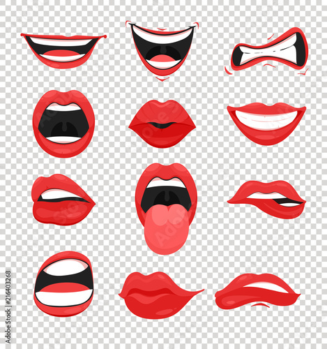 Vector illustration set of red woman lips Canvas-taulu