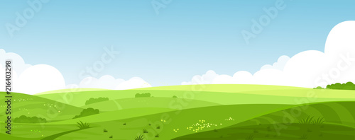 Vector illustration of beautiful summer fields landscape with a dawn, green hills, bright color blue sky, country background in flat cartoon style banner Fotobehang