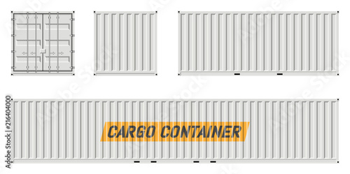 Carta da parati  Cargo container vector mockup on white background with side, front, back view