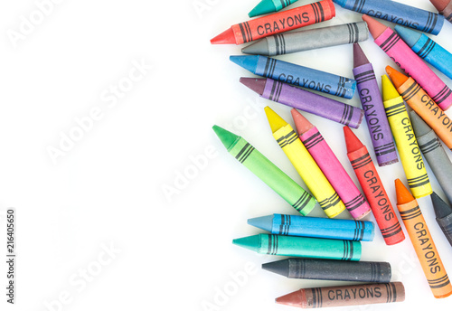 Fotografiet crayon drawing border multicolored background