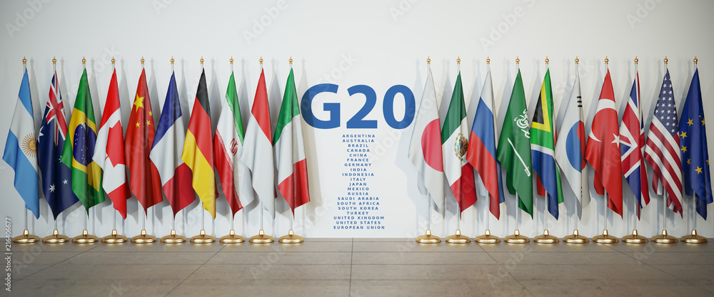 Fototapety, obrazy: G20 summit or meeting concept. Row from flags of members of G20  Group of Twenty and list of countries,
