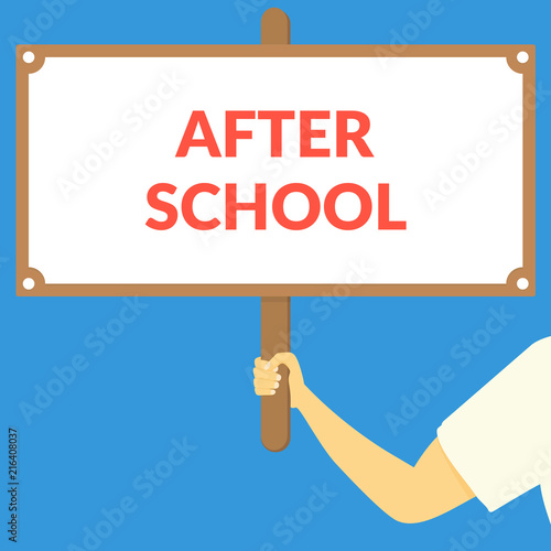 AFTER SCHOOL. Hand holding wooden sign Canvas Print