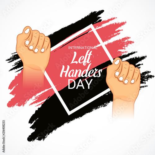 International Left-handers Day. Wall mural