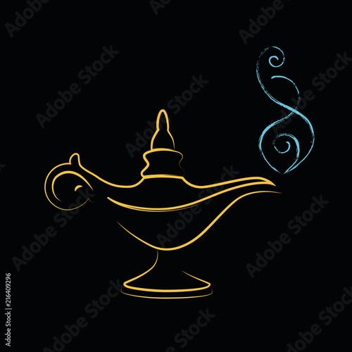 Fotografia  golden magic miracle lamp wishes
