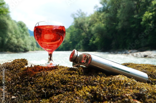 Canvas Prints Vineyard Picture of a metal jar and glasses.
