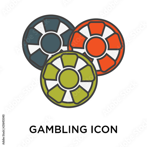 Gambling icon vector sign and symbol isolated on white background, Gambling logo плакат