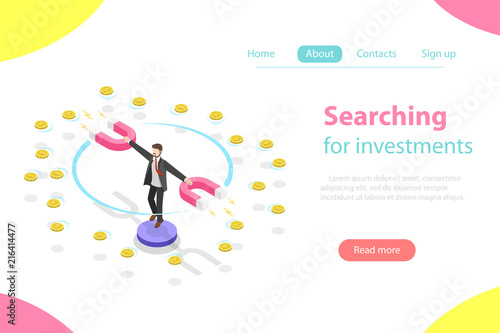 Foto  Flat isometric vector concept of serching for investment, marketing analysis, investing opportunity