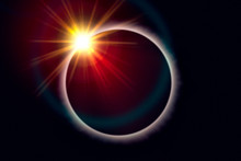 Total Solar Eclipse. Sunbeams Burst Behind The Moon And Create The Diamond Ring Effect