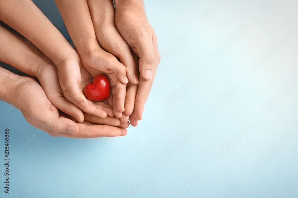 Fototapeta Family holding small red heart in hands on color background