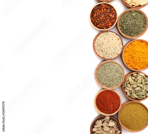 Fotobehang Kruiden Beautiful composition with different aromatic spices on white background