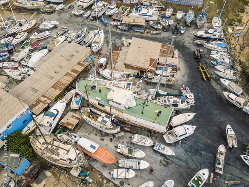 Fotobehang Poort Aerial view of dry docks and shipyard in Olhao, Portugal