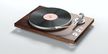 Vinyl LP Record Player Isolated On White Background. 3d Illustration