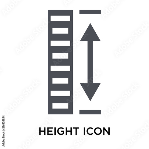 Cuadros en Lienzo Height icon vector sign and symbol isolated on white background, Height logo con