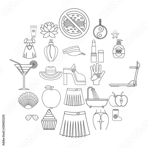 Fényképezés Petticoat icons set