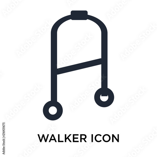 Photo  Walker icon vector sign and symbol isolated on white background, Walker logo con