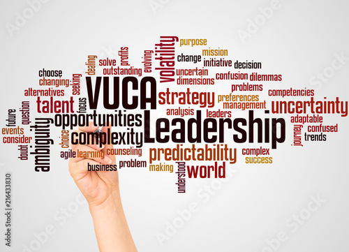 VUCA leadership word cloud and hand with marker concept Canvas Print