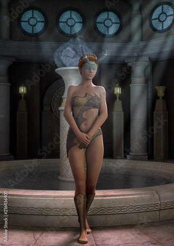 Cuadros en Lienzo Fantasy priestess blindfold with horns standing with a fount with water behind her