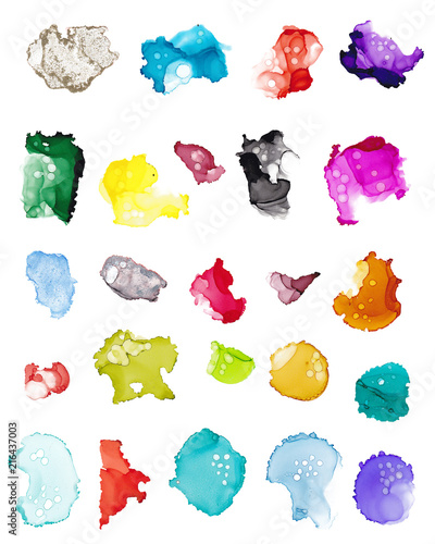 Hand drawn colorful watercolor splashes alcohol ink, isolated over white Canvas Print