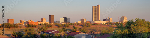 Autocollant pour porte Texas Golden Light hits the Buildings and Landscape of Amarillo Texas