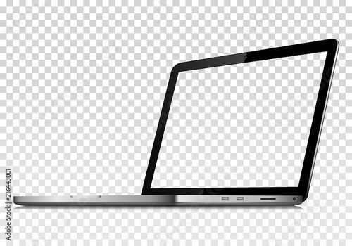 Obraz Perspective view of laptop with transparent screen. Isolated on transparent background. Vector - fototapety do salonu