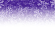 Christmas Illustration Of Many Layers Of Snowflakes Of Different Shapes, Sizes And Transparency. On Gradient Background From Purple To White.