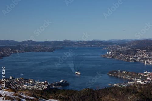 Fototapety, obrazy: Bergen seen from Løvstakken