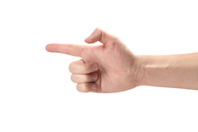 Male Hand Pointing At Something, Isolated On White Background