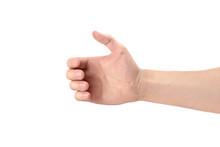 Male Hand Holding Something, Isolated On White Background
