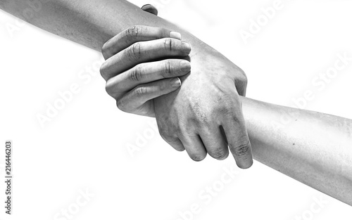 Fotomural  Black and white image of the hands of two people at the time of rescue 3d illust