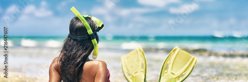 Staande foto Hoogte schaal Snorkel girl with scuba mask and snorkeling fins relaxing on Caribbean beach travel summer vacation panoramic banner. Ocean watersport tropical fun.