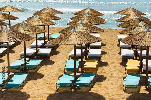 Tablou Canvas Sunbeds and umbrellas on a sandy beach, Falassarna, Crete