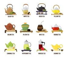 Tea Vector Green Or Black-tea In Teapot Illustration Drinking Set Of Jasmine And Rooibos Fruity Drinks On Teatime In Cafe Isolated On White Background