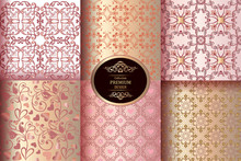 Collection Of Luxury Seamless Patterns. Vintage Pink And Gold Wallpaper. Victorian Damask Pattern. Golden Vintage Design Elements. Elegant Decorative Ornament For Wallpaper, Fabric, Paper, Invitation