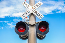 Railroad Crossing Sign With Li...