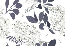 Floral Seamless Pattern. Gypsophila And Leaves Isolated On White Background. Botanical Pattern.