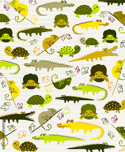 Sweet Reptile Vector Ilration Background Or Placement Print Nursery Wall Art