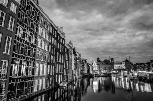 Foto op Plexiglas New York TAXI Сanal and embankments of Amsterdam city. Black-white photo.