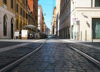 Rome,Italy-July 29,2018: Tram near Roma Termini station